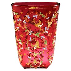 Bohemian Moser cranberry art glass Vase Hand painted raised Enamel Floral design