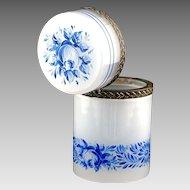 Vintage white Opaline crystal glass vanity trinket or jewelry BOX, hinged lid, blue flowers