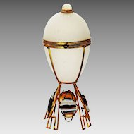 Antique French white Opaline glass egg Box ormolu mounts w/ Agate and Moon stones