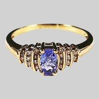 Fine 10K yellow gold Diamond & Amethyst ring size 6 sizable
