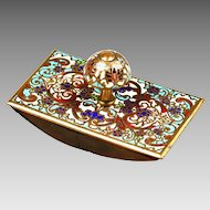 Antique French enamel on bronze, champleve or cloisonne ink Blotter