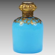 Antique French Palais Royal blue opaline glass Perfume scent Bottle