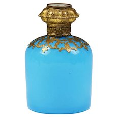 Antique French Palais Royal blue opaline glass Perfume scent Bottle