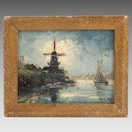 Antique oil on panel Painting signed Belgian Artist, painter - Fritz Van Den Berghe