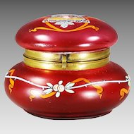 Art Nouveau hand blown cranberry enameled art glass Box