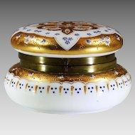 Large antique Bohemian enameled opaline glass Box