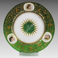 Antique Bohemian Moser green art glass Plate with 3 hand painted miniatures
