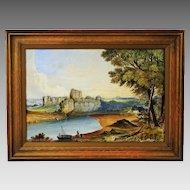 Antique watercolor landscape painting