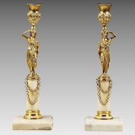 Pair Antique French gilded bronze Candlesticks or Candle Holder