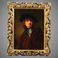 Antique 19th C oil canvas painting after Rembrandt self portrait as Young Man