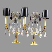 Pair of early 20th C French gilded brass Girandoles with crystal prisms