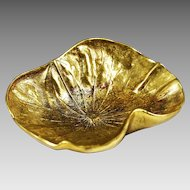 Vintage French gilded bronze Lilly Dish