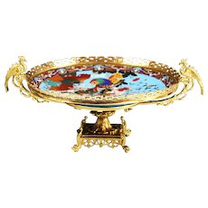 Antique French Chinese Chinoiserie gilt bronze Compote Center piece cloisonne champleve
