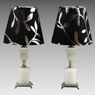 Pair Antique white opaline glass table or budoir Lamps