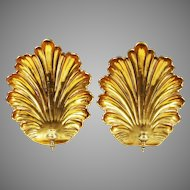 """Large 14"""" Vintage Mottahedeh Pair of nautical brass Wall Sconce"""