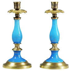 Pair of Antique French blue opaline glass and bronze pillar Candle holders