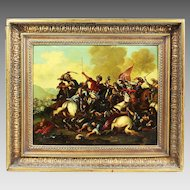 Antique oil on canvas board Painting Europian school Battle scene