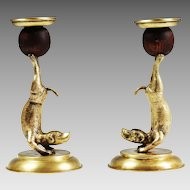 Vintage Arthur Court Candlestick Holders Brass dogs Animal Acrobats
