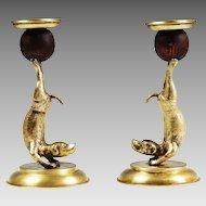 Vintage Arthur Court Candlestick Holders Brass dogs Animal Acrobats