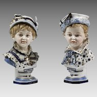 Antique KPM Berlin Germany porcelain figurines of Boy & Girl in white & blue