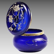Antique cobalt blue art glass trinket jewelry hinged Box with silver flowers