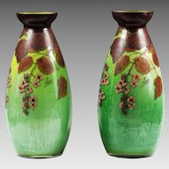 "14""H Pair Antique French green art glass Vases signed by artist"