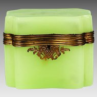 Large Antique French green opaline glass jewelry Casket hinged box gilded bronze
