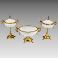 Italian white opaline with controlled bubles glass Bowl & 2 Boxes