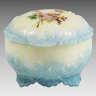 Antique Victorian Keystone Ware opaque opaline glass Vanity powder jewelry Box