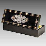 Antique 1864 Victorian ebonized wood Glove Box with brass inlay & metal beads