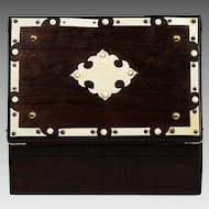 Antique French jewelry or keepsake hinged wood Box with Petitpoint embroidery