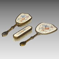 Vanity dressing table set 2 Brush Mirror petit point floral embroidery