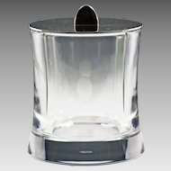 Large French Baccarat Tranquility clear crystal Box or Cookie Jar, Silverplate Lid