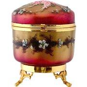 Antique French enameled art glass hinged trinket Box