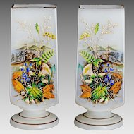 Antique white opaline glass Vases hand painted topographical scene