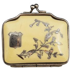 Antique French Ivory coin purse with silver & mother of pearl inlay, silk lining