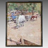 Vintage oil board painting important Austrian artist Roland Strasser 1895-1974
