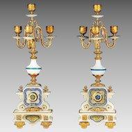 Antique French Empire 4 light candelabra Gilt bronze on enamel white onyx base