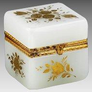 French opaline crystal glass trinket hinge Box or Casket