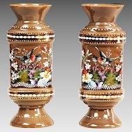 Pair of antique Bohemian opaline glass enamel Vases w/ birds butterflies flowers