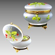 Satin enameled art glass Trinket Box or Powder Jar with Hinged Lid