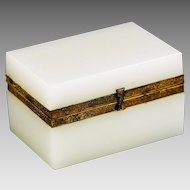 Antique French white opaline crystal glass Trinket Box or casket