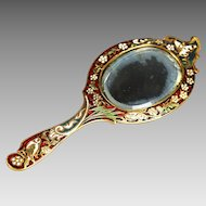 Antique French hand held vanity mirror, enamel champleve bronze