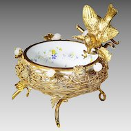 Antique French white opaline glass in bronze dore mounts Bon Bon Dish