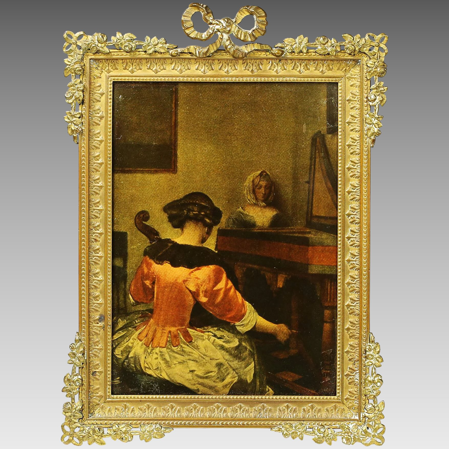 Antique French gilt bronze desk or wall mounted photo picture frame ...