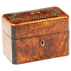 Antique ornate tiger wood inlaid brass mother pearl jewelry trinket hinged Box