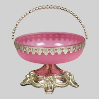 Antique Bohemian pink opaline glass Basket sterling silver mounts base with dogs