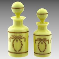 2* Vintage to Antique French PV opaline glass perfume Bottles original stoppers