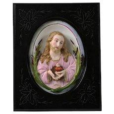 Antique French porcelain figurine of Jesus Christ sacret heart in gallery frame
