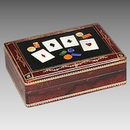 Vintage midcentury wood Pietra Dura plaque Playing Card Box